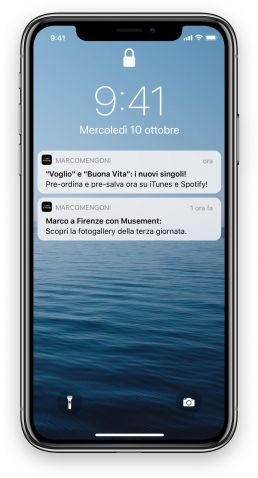 App Marco Mengoni by Rawfish push notification